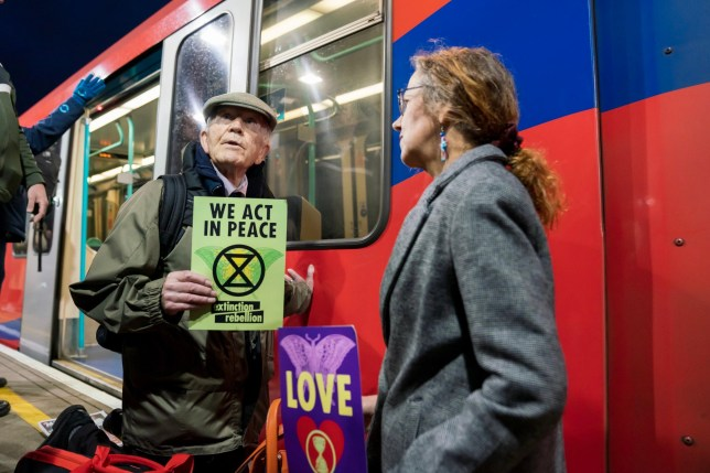What tube lines are affected by the Extinction Rebellion and what are the protestors planning at Gatwick?