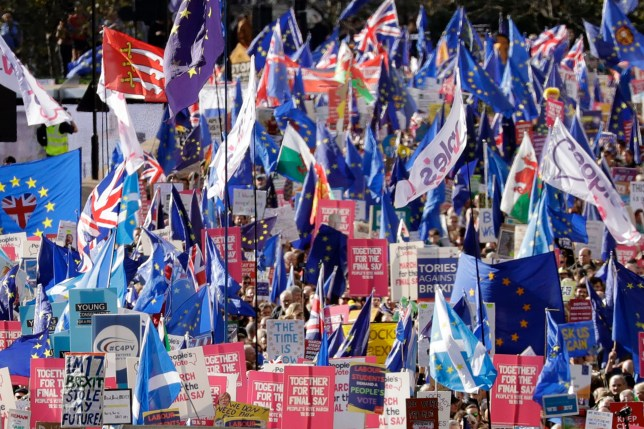 Thousands descend on London to protest Brexit