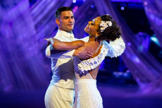 Emma Thynn, Viscountess Weymouth and her partner Aljaz in Strictly Come Dancing