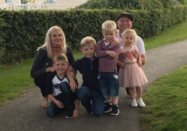 (L-R) Jodie Alston,34, Riley,eight, Oliver, nine, Archie, four, Gary Alston, 43, and Orla-Mae, three