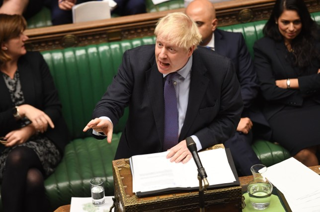 ONE EDITORIAL USE ONLY. NO SALES. NO ARCHIVING. NO ALTERING OR MANIPULATING. NO USE ON SOCIAL MEDIA UNLESS AGREED BY HOC PHOTOGRAPHY SERVICE. MANDATORY CREDIT: UK Parliament/Jessica Taylor Handout photo issued by UK Parliament of Prime Minister Boris Johnson speaking in the House of Commons, London during the debate for the European Union (Withdrawal Agreement) Bill: Second Reading. PA Photo. Issue date: Tuesday October 22, 2019. See PA story POLITICS Brexit. Photo credit should read: UK Parliament/Jessica Taylor/PA Wire NOTE TO EDITORS: This handout photo may only be used in for editorial reporting purposes for the contemporaneous illustration of events, things or the people in the image or facts mentioned in the caption. Reuse of the picture may require further permission from the copyright holder.