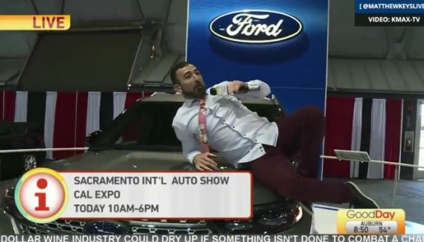 TV reporter fired after he kept jumping on rare vintage cars on air Picture: KMAX-TV/Good Day Sacramento METROGRAB