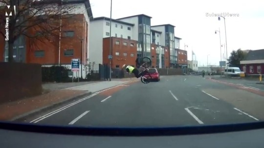 Copper comes a cropper while chasing suspect on his bike Picture: Solent
