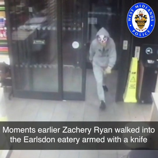 Video grab of Zachery Ryan, 41, and his attempted raid of McDonald?s wearing a clown mask - only to run into some police officers on their refreshment break at the fast food franchise. Coventry. See SWNS story SWMDclown. An armed robber who raided a McDonald's restaurant with a knife while wearing a clown mask has been jailed for five years. Zachery Ryan, 41, was caught by two police officers who happened to be visiting the Coventry branch on their coffee break and tasered him. He was arrested after being disabled by a Taser fired by one of the officers, and was jailed at Warwick Crown Court yesterday (Thurs) after pleading guilty to the robbery. Ryan, of no fixed address, was classed as a dangerous offender by Judge Andrew Lockhart QC after hearing that he had a previous conviction for an armed robbery.