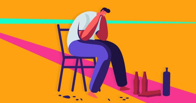 Drunk Men, Alcohol Addiction People. Male Characters Having Pernicious Habits Addictions and Substance Abuse, Suffering, Crying, Hugging in Funny Mood, Alcoholism. Cartoon Flat Vector Illustration