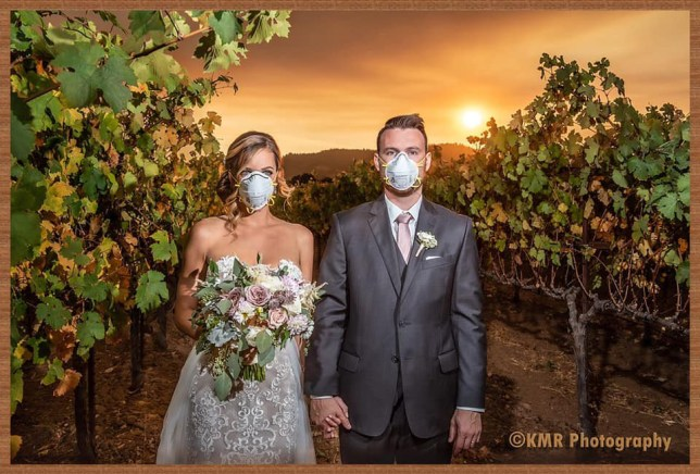 Couple on their wedding day in a vineyard