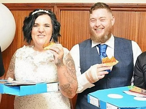 Couple ditch traditional wedding caterers and instead opt for £350 worth of Domino's pizzas