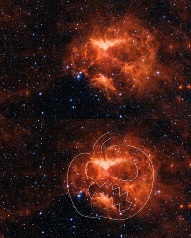 Nasa Spitzer Space Telescope spots 'celestial Halloween jack-o'-lantern'
