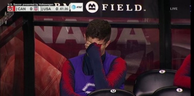 Chelsea winger Christian Pulisic in tears after being substituted in USA's defeat to Canada
