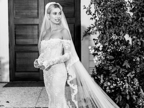 Take a look at Hailey Baldwin's stunning wedding dress in all its glory