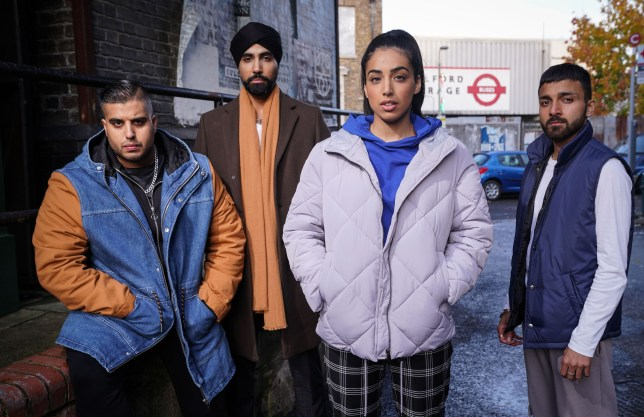 Ash, Vinny, Jags, and Kheerat Panesar in EastEnders