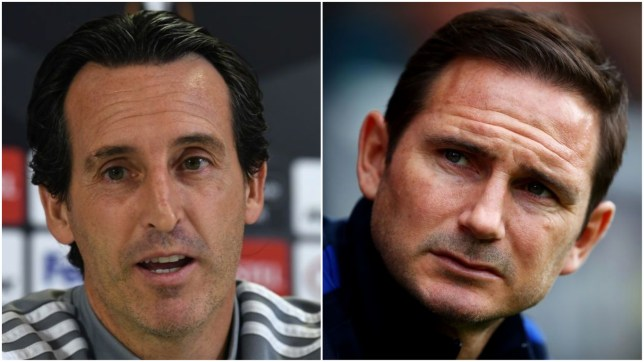 Arsenal manager Unai Emery and Chelsea boss Frank Lampard