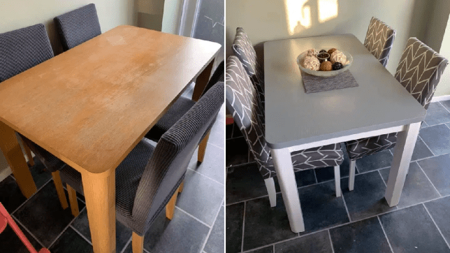 Mum makes dining set look like new with paint and chair covers that cost under £3 each