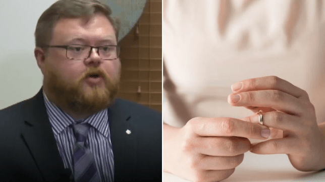 Photo of scorned ex-husband Kevin Howard next to file photo of woman fidgeting with wedding ring
