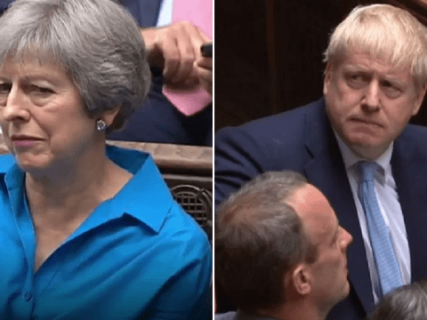 Theresa May's vicious side-eye to Boris as he talks about Brexit plan