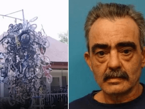 Child rapist 'erects huge sculpture made of kids' bikes to entice children to his yard'