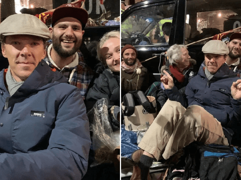 Doctor Strange's Benedict Cumberbatch wraps up as he joins Extinction Rebellion for freezing night protest