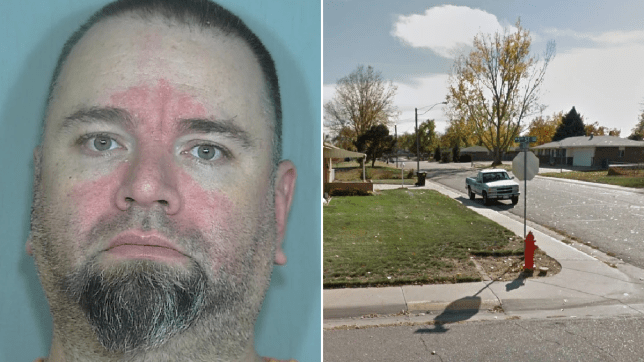 Mugshot of Michael Glover next to file photo of street where he lives