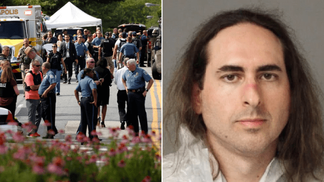 Photo of Capital Gazette shooting aftermath and mugshot of Jarrod Ramos