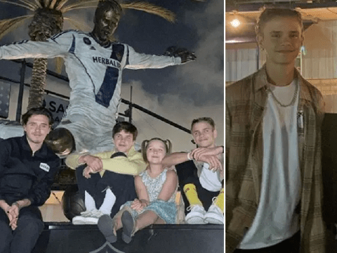 David Beckham jokes about his 'big bum' as kids visit his LA Galaxy statue for the first time