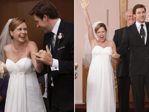 The Office's Jim and Pam stars reveal shooting panic as they celebrate characters' 10th wedding anniversary