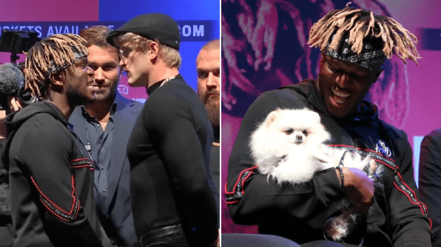 KSI brings dog on stage to intimidate Logan Paul