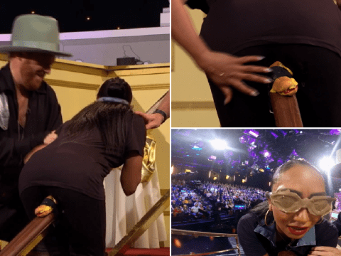 Mel B gets lubricated hot dog stuck between her legs during hilarious Celebrity Juice dare