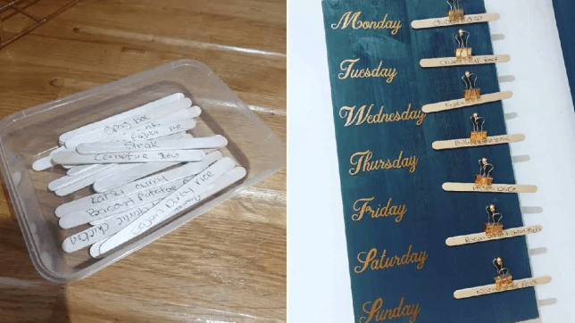 Mum creates genius meal planning board using lollipop sticks to make dinner decisions easier