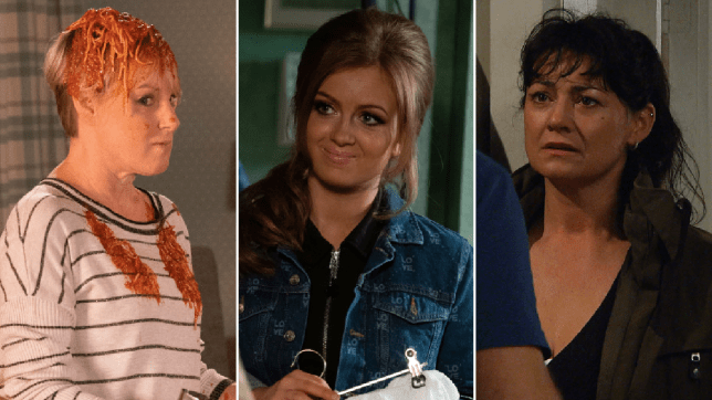 Sally Metcalfe in Coronation Street, Tiffany Butcher in EastEnders, Moira Dingle in Emmerdale