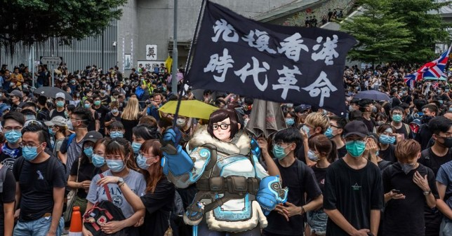 One of many pro-democracy images created by fans that features Overwatch's Mei (pic: u/galoder)