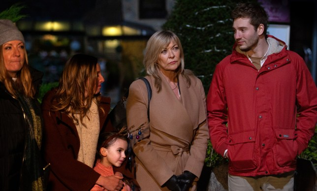 Kim, Jamie, Andrea and Millie Tate in Emmerdale