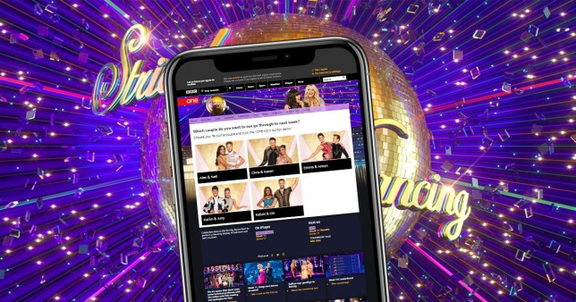 Strictly Come Dancing logo and the website on a smartphone