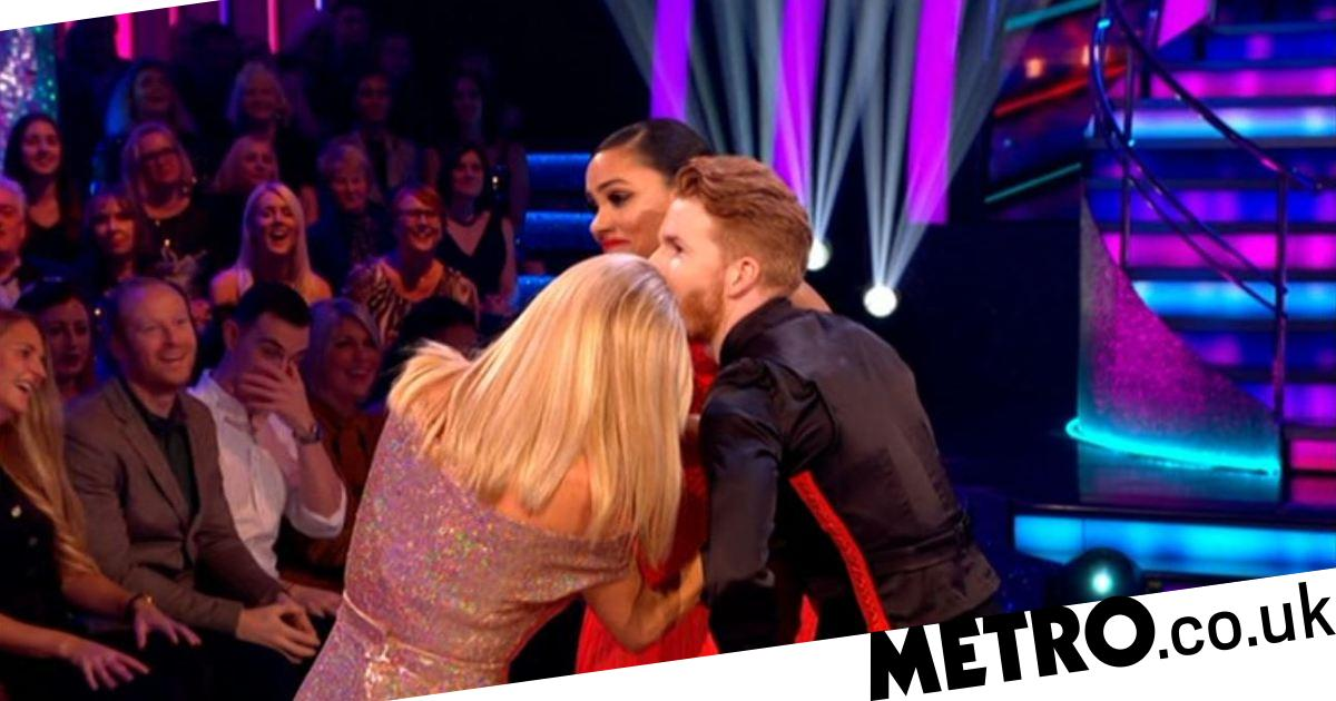 Strictly's Neil and Alex need freeing by Tess Daly in 'sequin malfunction'
