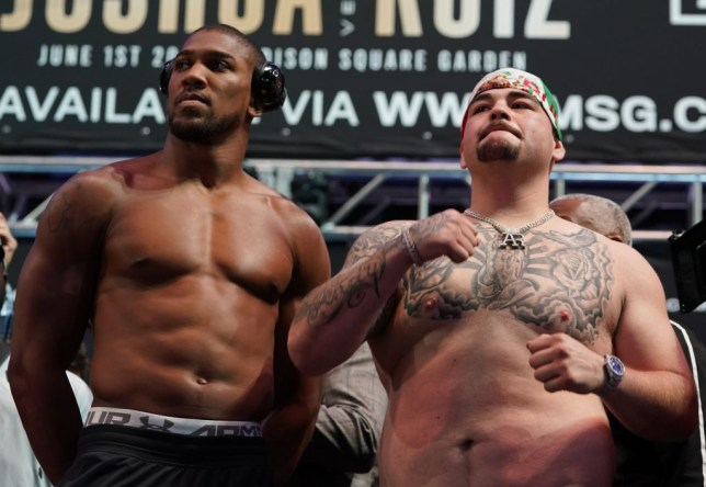 Anthony Joshua and Andy Ruiz at their first fight weigh-in