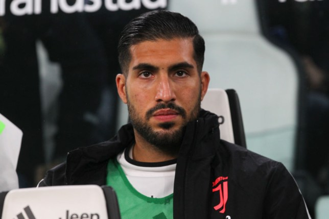 Emre Can looks on from the Juventus bench