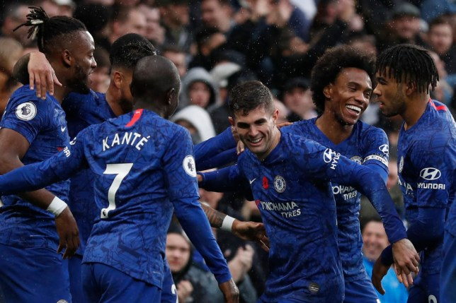 Christian Pulisic celebrates his goal with his Chelsea team-mates