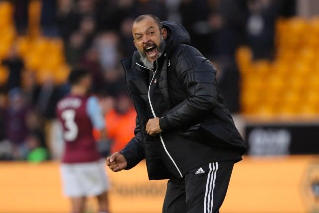 Arsenal managerial target Nuno Espirito Santo celebrates a goal for Wolves