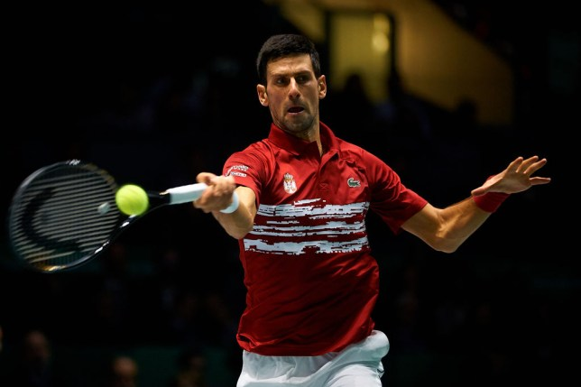 Novak Djokovic hits a forehand during the Davis Cup