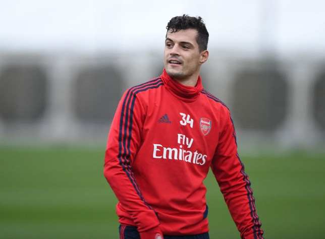 Granit Xhaka training with Arsenal at London Colney