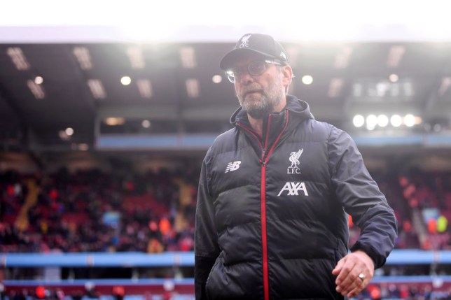 Jurgen Klopp looks on during Liverpool's 2-1 win over Aston Villa