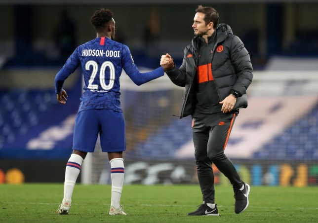 Callum Hudson-Odoi shakes hands with Frank Lampard after Chelsea's draw with Ajax