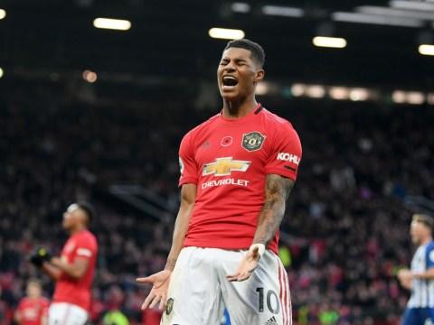 Daniel James reacts to Marcus Rashford's amazing miss during Man Utd vs Brighton