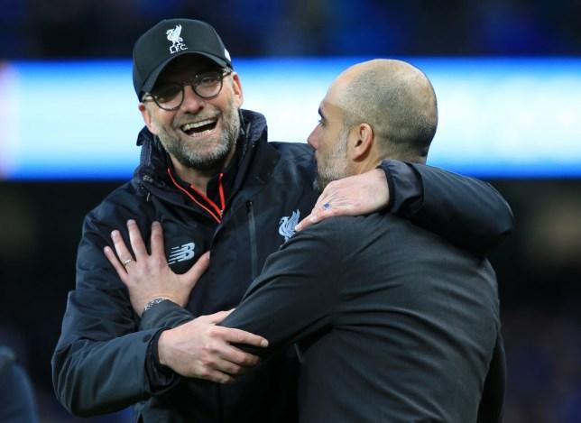 Liverpool's Jurgen Klopp with Man City manager Pep Guardiola