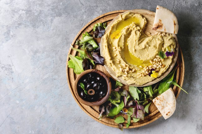a Homemade traditional hummus spread