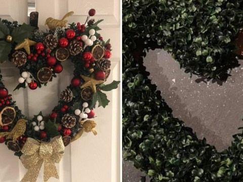 Woman creates heart-shaped Christmas wreath for £11 using decorations from Poundland and Home Bargains