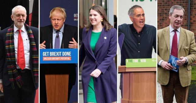 Pictures of Jeremy Corbyn, Boris Johnson, Jo Swinson , Jonathan Bartley and Nigel Farage