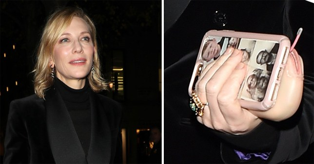 Cate Blanchett is next level adorable with personalised phone case covered in family photos