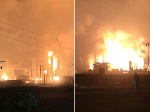 Huge explosion at fuel plant sends fireball into the air