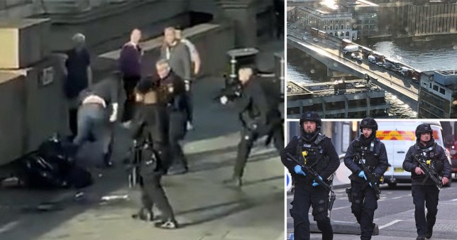 Shot of 2019 London Bridge terror attack and police