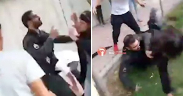 Girl thrown to ground for not wearing Hijab